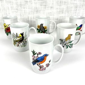 Vintage Leonard Porcelain bird/flower mug set (6)
